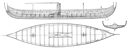 The Royal Navy, a History from the Earliest Times to Present Volume 1 - The Gokstad Ship, Elevation and Deck Plan.jpg