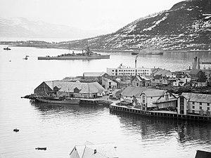 HMS Effingham (D98) - Effingham in a Norwegian fjord, 1940.