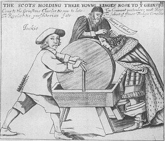 Blue bonnet (hat) - A print of the 1650s, satirising Covenanter manipulation of the young Charles II, shows 'Jockie', a stereotypical Presbyterian Lowland Scot, wearing a broad blue bonnet.