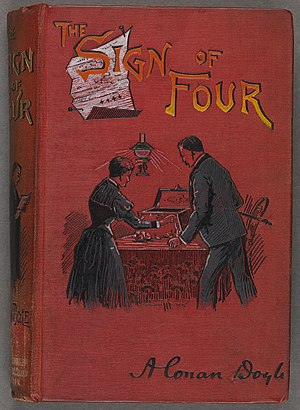 The Sign of the Four - The 1892 cloth-bound cover of The Sign of Four after it was compiled as a single book