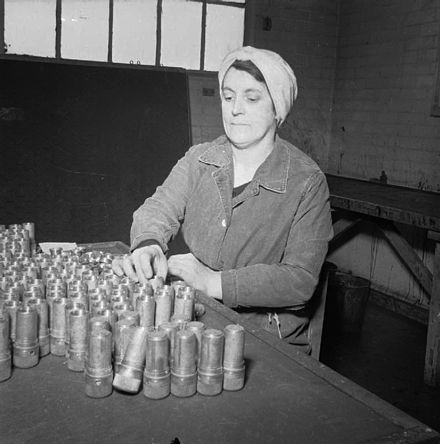A munitions worker at a ROF Aycliffe, c1942 The Women Behind the Women- Munitions work at a Royal Ordnance Factory in the North of England, c 1942 D13575.jpg