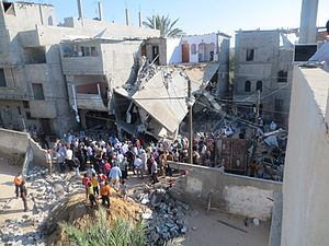 2014 Israel–Gaza conflict - Image: The home of the Kware' family, after it was bombed by the military