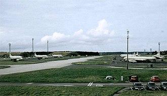 RAF Kinloss - Nimrod aircraft parked at RAF Kinloss.
