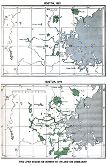 Two maps showing the open spaces of Boston in 1892 and 1902