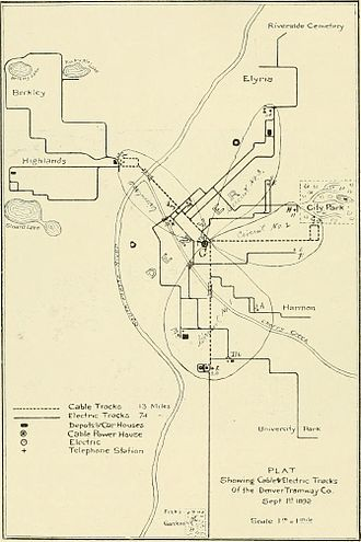 Denver Tramway - 1891 map of Denver Transit Co.