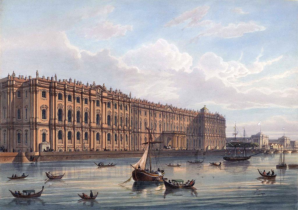 Palais d'hiver à Saint Petersbourg au 19e siècle. Litographie de Joseph-Maria Charlemagne-Baudet.