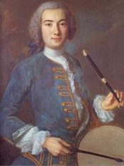 18th century tambourinaire with galoubet.