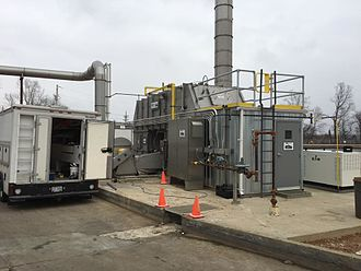 Thermal oxidizer - Preassembled process unit for air pollution control, i.e., a thermal oxidizer, being installed at a work site.