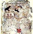 Three dog-like ants attacking a tethered camel, man in a tunic.jpg