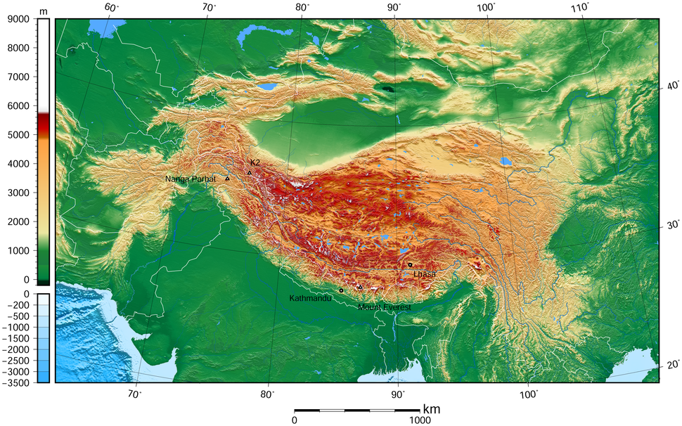 Tibet and surrounding areas topographic map 3
