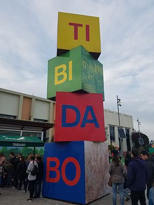Tibidabo Amusement Park - The blocks that spell out the name of the Tibidabo amusement park in Barcelona.