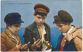 Morra (game) - A postcard of boys playing Morra