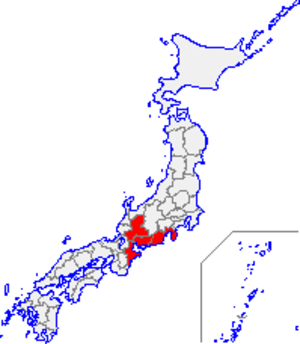 Tōkai region - Region map