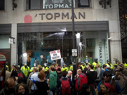 Topshop Oxford Circus damaged by anti-cuts protesters in March 2011 Topshop protest 2011.jpg