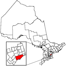 Location of Toronto and its census metropolitan area in the province of Ontario