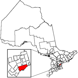 Location of Toronto and its census metropolitan area in the province of ఓంటారియో