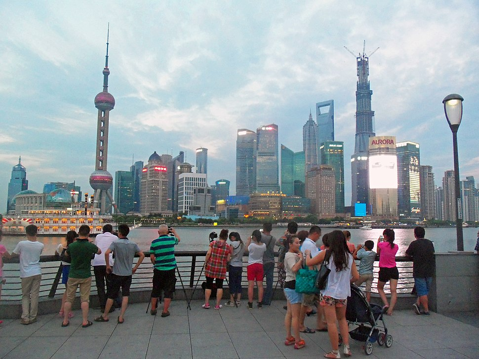 Tourists photographing Lujiazui from the Bund, 2013