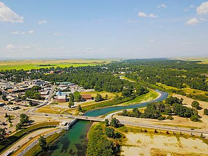 High River - Aerial view photo taken of downtown High River Alberta in July 2017