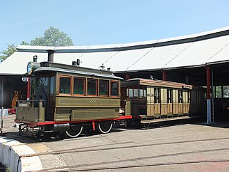Valley Heights Locomotive Depot Heritage Museum - NSWGR Steam Tram and Trailer at Valley Heights