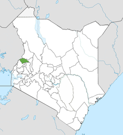 Location of Trans-Nzoia County (Green)