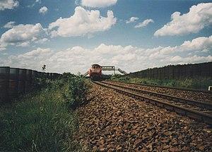 Brunswick–Magdeburg railway - Train between Helmstedt and Marienborn in April 1990