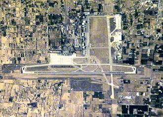 Tripoli International Airport - The airport's existing terminals and runways in a satellite image