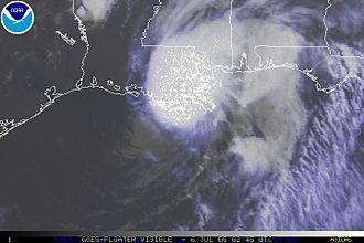 Hurricane Cindy (2005) - Hurricane Cindy making landfall over Louisiana on July 6
