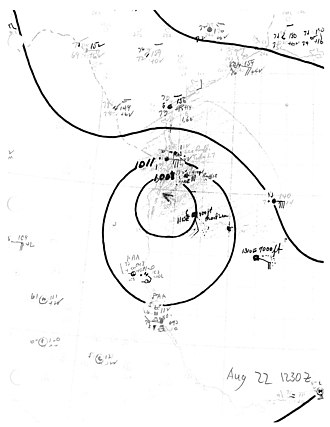 1944 Atlantic hurricane season - Image: Tropical Storm Five surface analysis 1944