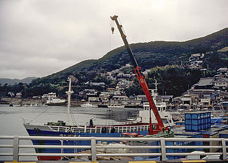 Tsushima Island - A harbor in the city of Tsushima, Nagasaki Prefecture, Japan in 1990