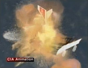 TWA Flight 800 - Another frame from the CIA's animation depicting how the left wing of TWA Flight 800 sheared off and created a second fireball