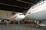 Two Iran Air Airbus A300B4-605R undergoing maintenance at Mehrabad Airport.jpg