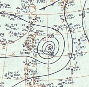 Typhoon Billie (1959) - Image: Typhoon Billie surface analysis 14 Jul 1959