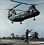 UH-46D of HC-6 over USS America (CVA-66) in 1971.jpg