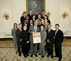 team photo shot with President George Bush