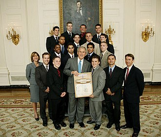 Oklahoma Sooners - The 2008 Sooners men's gymnastics team, including 2008 Nissen-Emery Award winner Jonathan Horton, are honored at the White House by President of the United States George W. Bush upon the team's winning the 2008 national championship.