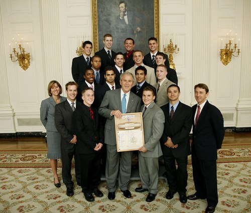 The 2008 Sooners men's gymnastics team, including 2008 Nissen-Emery Award winner Jonathan Horton, are honored at the White House by President of the United States George W. Bush upon the team's winning the 2008 national championship. UO men's gymnastics at the WH.jpg
