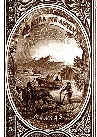 1882BB Ulusal Banknot Serisi'nin tersinden Kansas eyalet arması