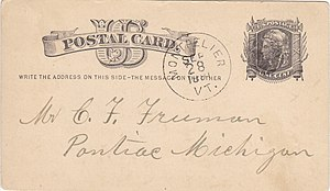 Postal stationery - U.S. postal card of 1881 with an imprinted stamp.