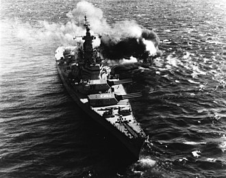 USS Iowa (BB-61) - Iowa fires her guns off the coast of Koje on 17 October 1952.