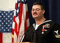 US Navy 040223-N-5576W-003 Hospital Corpsman 2nd Class Alan Dementer of Gladstone, Mich., addresses an audience of friends, family and co-workers, following the awarding of the Bronze Star.jpg