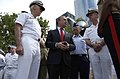 US Navy 040527-N-6371Q-088 New York City's Mayor Michael Bloomberg, center, takes a moment to personally thank Rear Adm. William J. Fallon.jpg