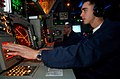 US Navy 041225-N-4757S-218 Fire Controlman 3rd Class Keith Stewart monitors the primary Air Search Radar for possible air threats, from the Combat Information Center (CIC) aboard the guided missile cruiser USS Monterey (CG 61).jpg