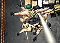 US Navy 061103-N-0490C-002 Explosive Ordnance Disposal Mobile Unit 6 (EODMU-6), Det. 16 conduct Special Purpose Insertion Extraction (SPIE) training from the flight deck of the Nimitz-class aircraft carrier USS Dwight D. Eisenh.jpg