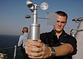 US Navy 070803-N-9640S-026 Aerographer's Mate 3rd Class Shane Healey, a native of Bauxite, Ark., uses a PM-Q3 handheld anemometer aboard USS Bonhomme Richard (LHD 6) (BHR).jpg