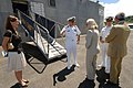 US Navy 070918-N-0989H-016 Capt. Douglas Wied, commander of Task Group 40.9, greets the Honorable Brenda LaGrange Johnson, U.S. Ambassador to Jamaica, and her guest upon their arrival to the Boundbrook Wharf.jpg