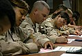 US Navy 080210-N-7367K-005 Seabees with U.S. Naval Mobile Construction Battalion (NMCB) 15, Task Force Sierra, prepare to take their advancement exams.jpg
