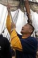 US Navy 080828-N-1531D-152 Hospital Corpsman 1st Class Antonio Estrada teadies a sail.jpg