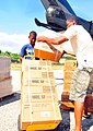 US Navy 100120-N-1240O-145 Haitians citizens load Meals-Ready-to-Eat (MREs) from a CH-53E Sea Dragon helicopter.jpg