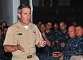 US Navy 100804-N-5006D-006 Rear Adm. Doug McAneny addresses the officers and chiefs of USS Frank Cable (AS 40).jpg