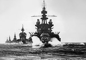 US warships entering Lingayen Gulf 1945